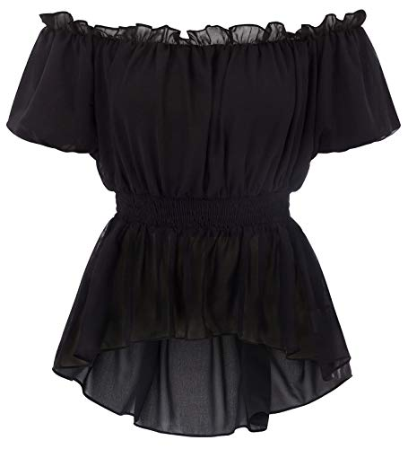 - Womens Vintage Blouse Elastic Waist Short Sleeve Ruffle Shirt Hi-Lo Tops Black S