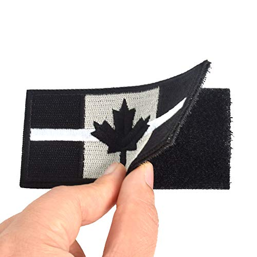 SHELCUP 2 Pieces Thin White Line Canada Flag Canadian Maple Leaf Tactical Morale Patches Military Emblem