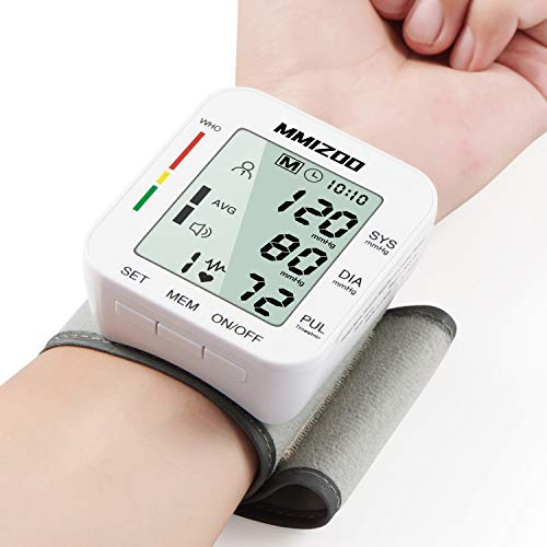 Blood Pressure Monitor Large LCD Display & Adjustable Wrist Cuff (5.31″-7.68″) Automatic Accurate 99 * 2 Reading Memory for Home Use