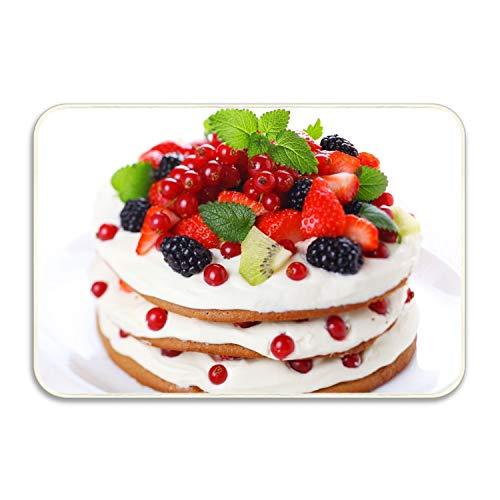 """Greicmn Non-Slip Outdoor/Indoor Kiwi Strawberry Cake Blackberries Currants Doormat,20"""" X 32"""", Entry Way Shoes Scraper Patio Rug"""