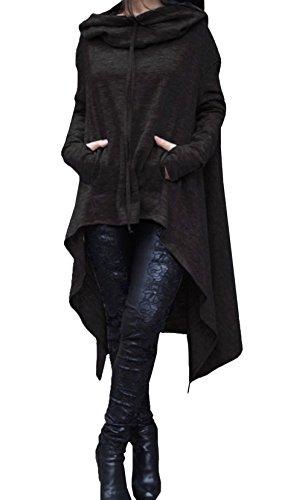 LLP Women Long Sleeve Asymmetric Hem Solid Color Hoodie Hooded Cloak Pullover