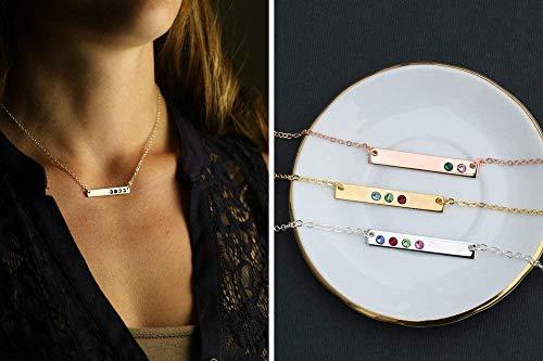 Birthstone Bar Necklace - DII DBB_19 - Gemstone - Rose Gold - Swarovski Crystal - Mommy Children Mother Gift - Silver Tiny Skinny Minimal ()