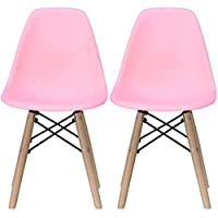 2xhome - Set of Two (2) Kids Size Plastic Side Chairs Plastic Chairs Black Seat Natural Wood Wooden Legs Eiffel Childrens Room Chairs No Arm Arms Armless Molded Plastic Seat Dowel Leg