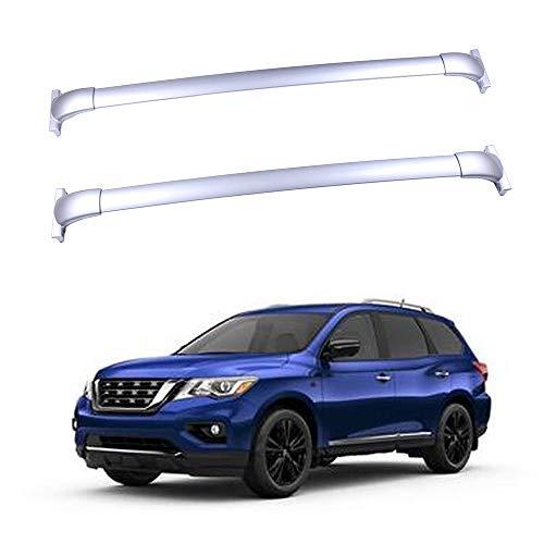 - ROADFAR Roof Rack Silver Aluminum Top Rail Carries Luggage Carrier Fit for 2013-2017 Nissan Pathfinder Sport Utility 4-Door Baggage Rail Crossbars