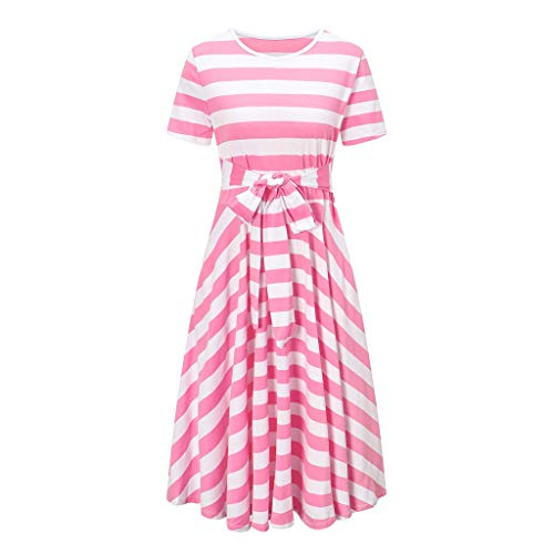 Sunhusing Women's Round Neck Short Sleeve Striped Print Bow Lace-Up High Waist Dress Knee Length Sundress Pink ()