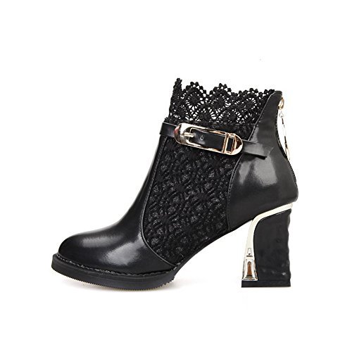 Buckle Ladies Leather Black 1TO9 Chunky Imitated Zipper Lace Heels Boots wFPq6I