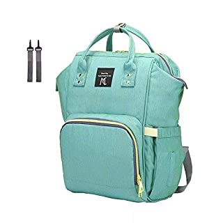 Diaper Bag Backpack, Nanrui Waterproof 25L Roomy Baby Backpack Diaper Backpack for Boy and Girl with 2 Stroller Straps- Green