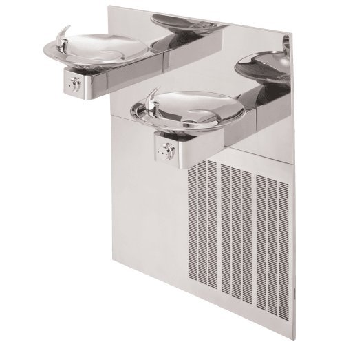 Haws H1011.8HPS Stainless Steel Hi-Lo Barrier-Free Dual High Polished Electric Water Cooler with Round Sculpted Bowls (Chiller and Mounting Frame Not Included) by Haws