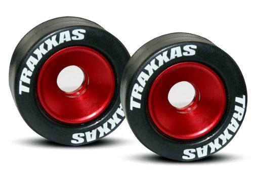 Traxxas 5186 Rubber Tires Mounted on Red-Anodized Aluminum Wheelie Bar Wheels -