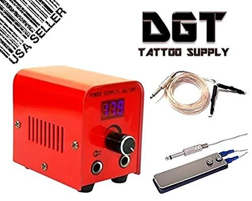 DGT LCD Digital Tattoo Power Supply Kit w/Clip Cord & Flat Foot Pedal (Red)