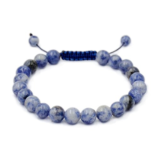 AD Beads Natural 8mm Gemstone Bracelets Healing Power Crystal Macrame Adjustable 7-9 Inch (Blue Spot Jasper) - Seven Spot