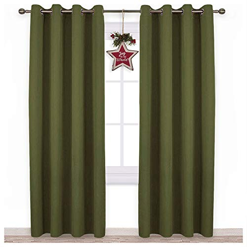 NICETOWN 84 inches Bedroom Curtains Panels - Functional Christmas Window Decorative Blackout Drapes for Bedroom, Thermal Insulated, Privacy Assured (Set of 2, 52 x 84 inches in Olive Green) from NICETOWN