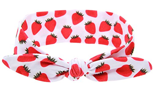Baby Take A Bow Costume (Zeroyoyo Baby Girl Multicolor Cute Fruit Hair Hoops Headbands,Solid Bunny Ears Bow Headbands for Take Photograph (Strawberry))