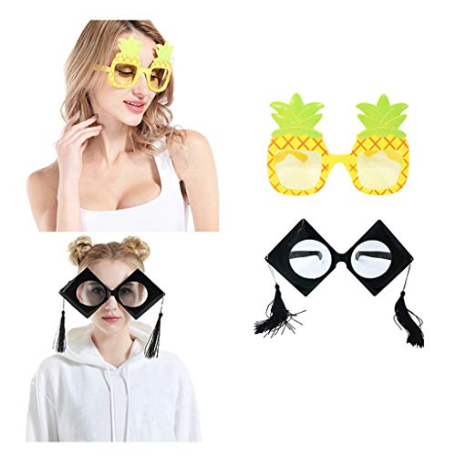 Glumes Novelty Party Sunglasses, Creative Funny Glasses, Luau Tropical Party, Fancy Dress Party Supply, Perfect Hawaiian Themed Eyeglasses for Kids & Adults