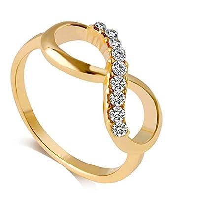 Tiowea Women Romantic Infinite Symbol Rhinestone Hollow Rings Stacking