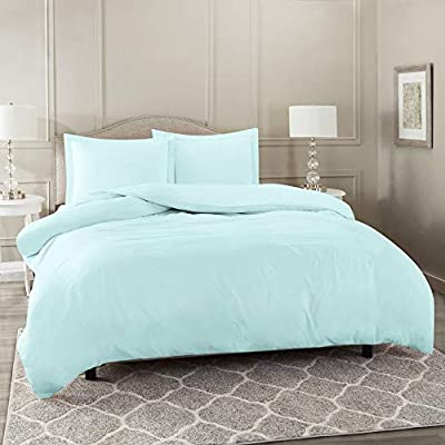 """Nestl Bedding Duvet Cover 3 Piece Set – Ultra Soft Double Brushed Microfiber Hotel Collection – Comforter Cover with Button Closure and 2 Pillow Shams, Baby Blue - Full (Double) 80""""x90"""""""