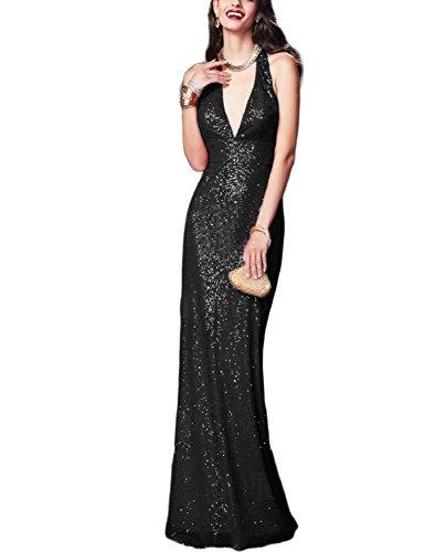Sequins Halter Prom Formal Dress - 8