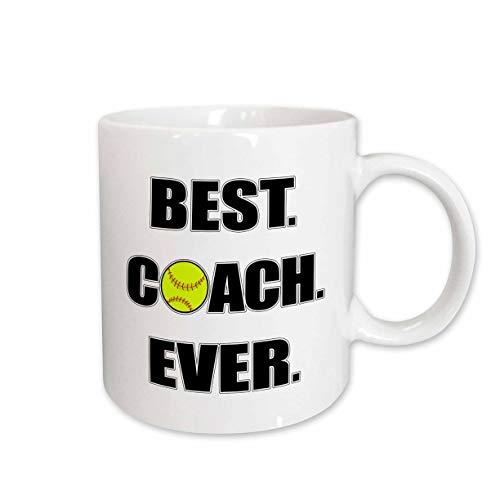 3dRose Janna Salak Designs Sports - Softball Best Coach Ever - 15oz Two-Tone Blue Mug (mug_210629_11)