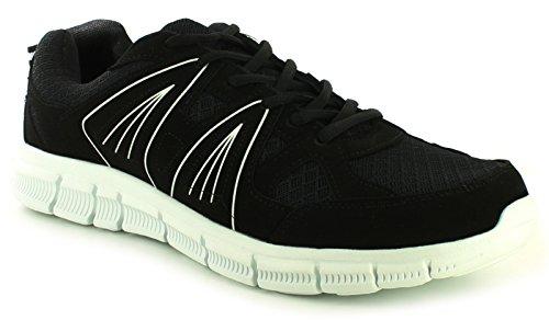NUEVO Hombre / Negro Hombre Corbata UPS Deportes Zapatos/Zapatillas- Negro/blanco - GB Tallas 7-11
