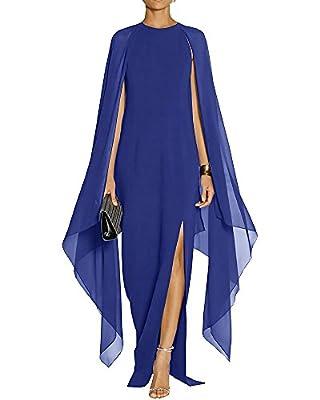 Maketina Women's Flare Chiffon Sleeve High Split Formal Evening Gown Maxi Dress with Cape