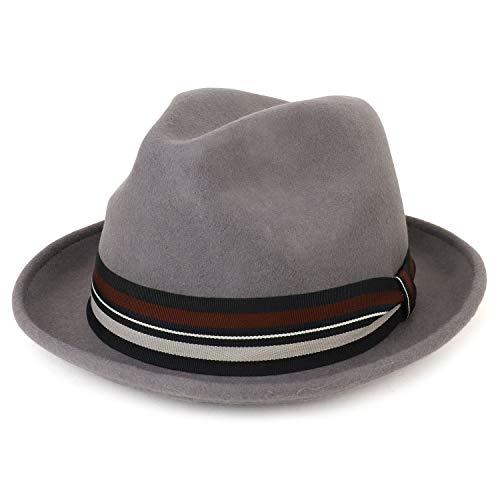 (Armycrew XXL Oversize Wool Felt Pinch Fedora Hat with Stripe Band - Grey - 2XL)