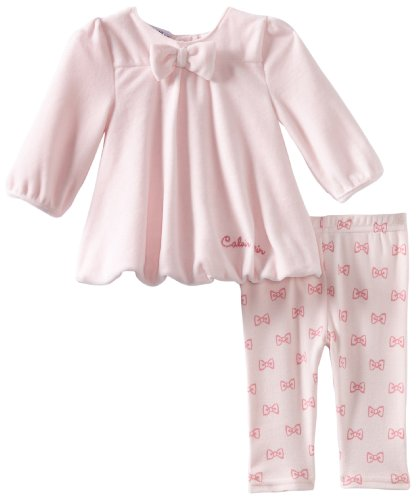 Calvin Klein Baby-Girls Newborn Tunic Top With Bows Print Legging