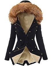 Darringls Winterjas met bont voor dames, lange winterjas, gevoerd, warme parka, camouflage, watervaltrui, dikke functionele jas, winddicht, softshelljas, oversized jas, gewatteerde jas