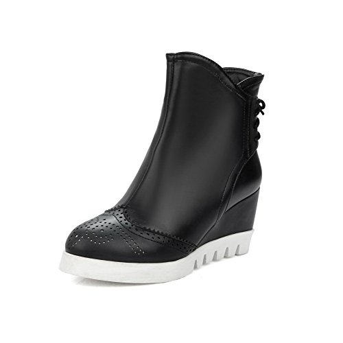PU Zipper Black Heels High top AgooLar Women's Solid Boots Low qaUIxwBn