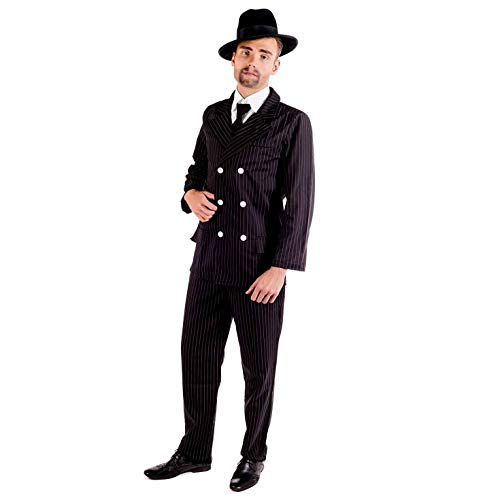 fun shack Mens 20s Gangster Costume Mobster Mafia Black Pinstripe Suit Outfit - ()