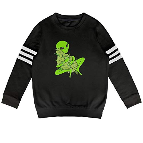Hoodies for Boys Girls Marijuana Alien Plant Legal Leaf Rocking Cool Trendy Cotton Long Sleeve Sweatshirt for Kids ()
