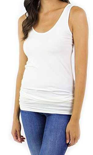 One Womens Fitted Tank Top - Grace and Lace Women's One Size Fits Most Tank (Ivory)