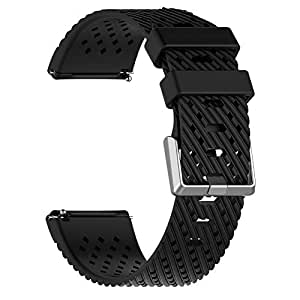 Silicone Holes Smart Watch Band Wrist Strap Replacement for Fitbit Versa Lite - Black L by Bullker