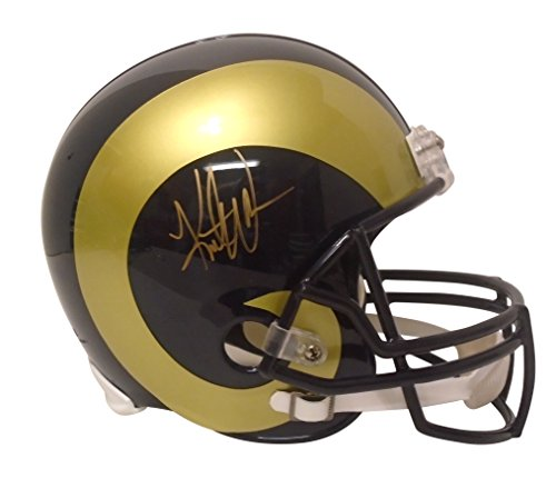 Kurt Warner Autographed Football - St. Louis Rams Kurt Warner Signed Hand Autographed Riddell Full Size Football Helmet with Proof Photo of Signing and COA, Super Bowl XXXIV MVP