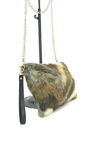 Gold faux sling in GoodCape chain fur OLIVIA Khaki Series ladies style bag with chevron wT8aqRZ