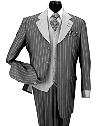 Pinestripe Fashion Suit with Contrast Collar, Cuffs & Vest , 4 Colors