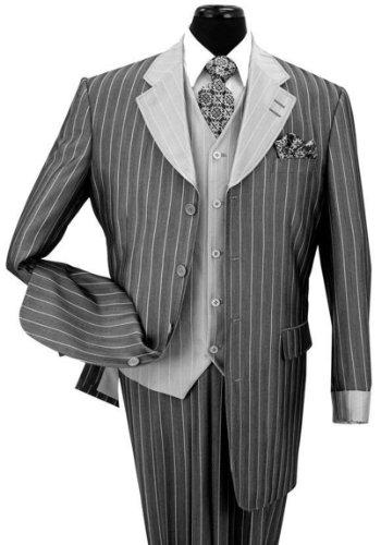 Zoot Suit (Milano Moda Pinestripe Fashion Suit with Contrast Collar, Cuffs & Vest 2911-Bk-38R)