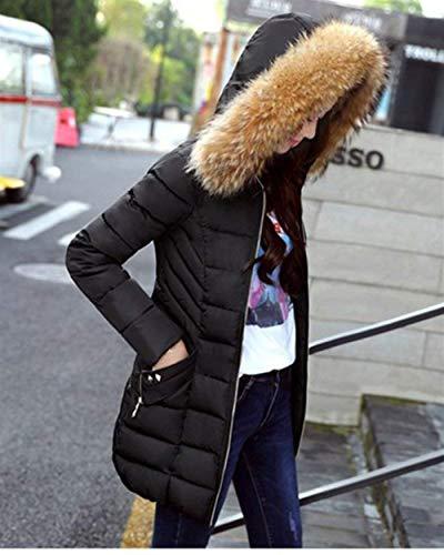 Elegantes Larga Retro Fashion Mujer Parka Capucha Acolchado Schwarz Abrigo Piel Plumas Fit De Pluma Espesar Slim Manga Largos Invierno Termica Con x8wXn477vq