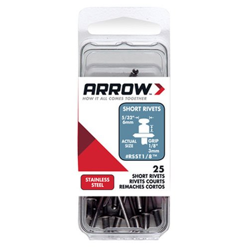 Arrow Fastener RSST1/8 Short Stainless 1/8-Inch Rivets, 25-Pack ()