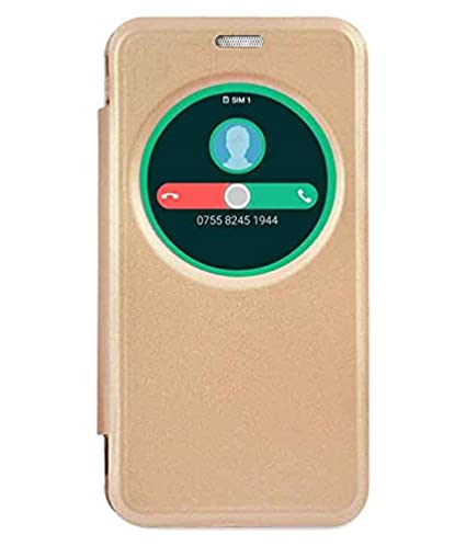 quality design 99062 7b406 helix Leather Flip Cover for ASUS Zenfone 3 Max ZC520TL X008DA (Golden)