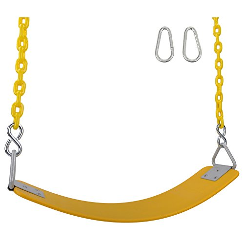 Swing Set Stuff Inc. Swing Set Stuff Commercial Polymer Belt Seat 5.5 Ft. Coated Chain and SSS Logo Sticker... , Yellow