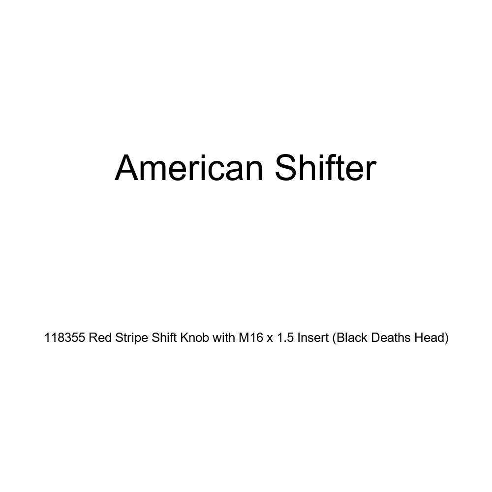 American Shifter 118355 Red Stripe Shift Knob with M16 x 1.5 Insert Black Deaths Head