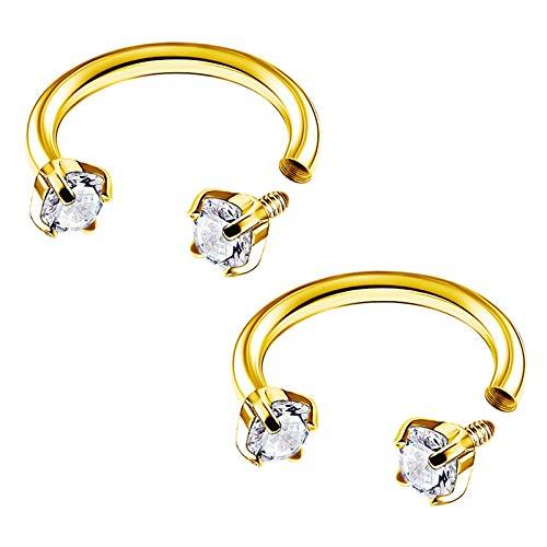BIG GAUGES Pair of Surgical Steel 16g Gauge 1.2mm 8mm Circular Horseshoe CZ Stone Anodized Piercing Tragus Helix Earrings Lobe BG4904