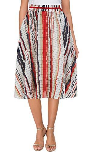 (Afibi Womens Floral Elastic High Waist Pleated Skater Skirt Dress Knee Length (Medium, Red-Long))