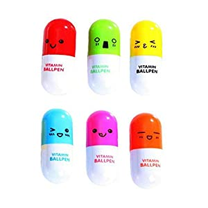 6Pcs Da.Wa Creative Smiling Face Cute Cartoon Emotion Pill Ballpoint Pen Novelty Retractable Ball Pen Silly Gift Office School Supplies