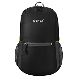 Gonex Ultra Lightweight Packable Backpack Hiking Daypack Handy Foldable Camping Outdoor Travel Cycling School Backpacking(Black)