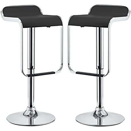 Modway Two LEM Piston Style Vinyl Bar Stools In Black