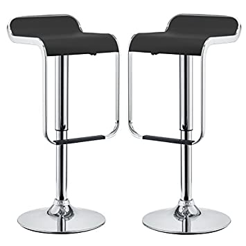 Modway LEM Mid-Century Modern Adjustable Swivel Piston Bar Stool In Black With Faux Leather Seat – Set of 2
