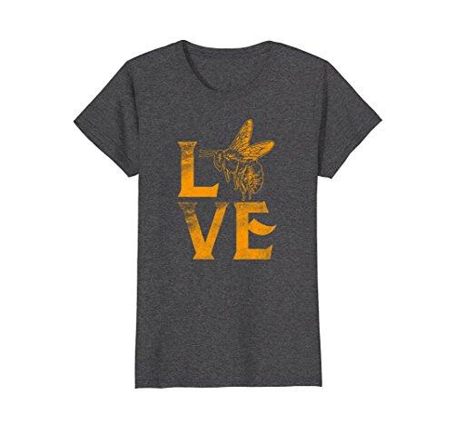 T-shirt Bee Womens (Womens Love Bees T-Shirt Beekeeper Gift Cute Bee Silhouette Honey XL Dark Heather)