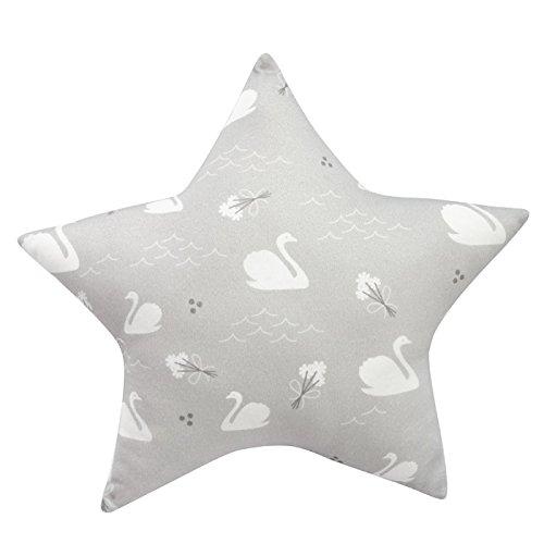 Cojín con forma de estrella, diseño de cisnes, color gris ...