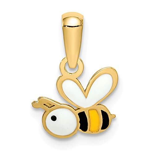 - 14k Yellow Gold Enamel Bumble Bee Pendant